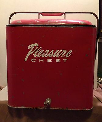 Vintage Pleasure Chest Red Metal Ice Chest / Cooler