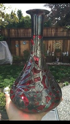Vintage Art Nouveau Cranberry Glass Decanter with Sterling Silver Overlay