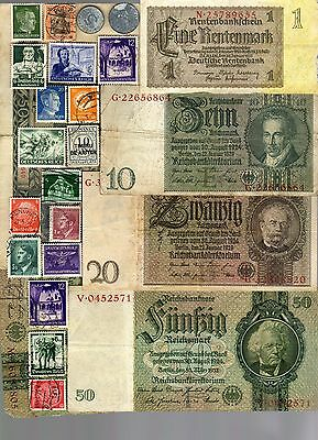 Nazi Germany Banknote, Coin And Stamp Set   # 27