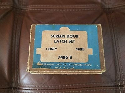 New Old Stock screen door latch set brass Finish antique Independent Lock Co