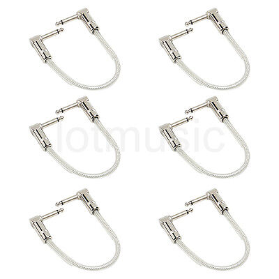 """Kmise Guitar Patch Cable Cord Right Angle 6"""" OFC Braided for Guitar 6 Pcs"""