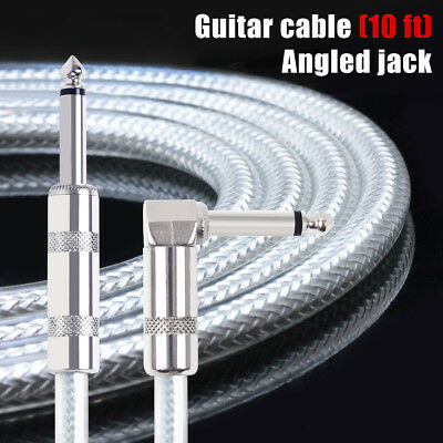 Kmise Guitar Cable Instrument Cord Straight Right 10ft OFC Braided for Guitar