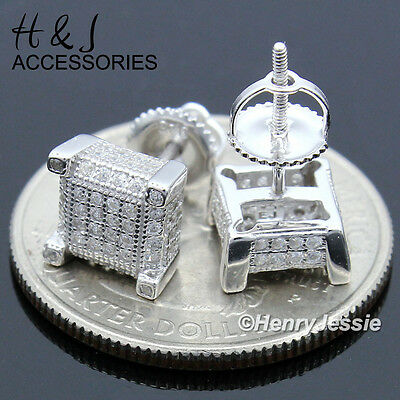 Men 925 Sterling Silver Square 7Mm Iced Out Bling Screw Back Stud Earring*e128