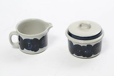 Arabia of Finland Stoneware Anemone Blue Creamer & Sugar Bowl w/ Lid Signed