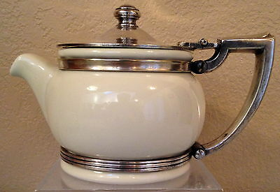 White with Silver Holder Teapot made for Holiday Inn by Hall China