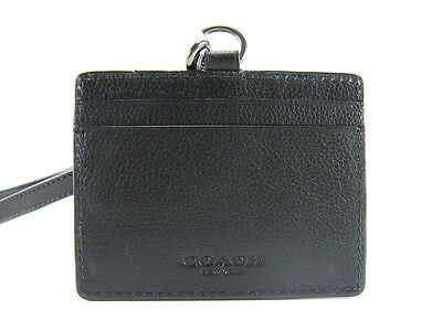 New COACH Men ID LANYARD/Credit Card Case in Pebbled Leather BLACK F63629 $95