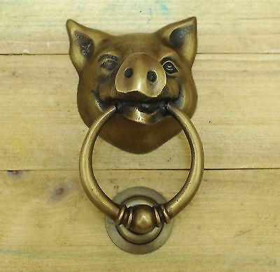 "5.11"" VINTAGE Piggy Head Solid Brass Front Door KNOCKER and Pull Knocker"
