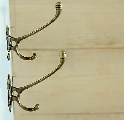 LOT OF 2 PCS Vtg Antique Victorian Classic SOLID BRASS Strong Wall HOOK 4.52