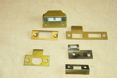 6 Vintage Door Lock Latch Strike Plates Mortise Hardware Parts lot