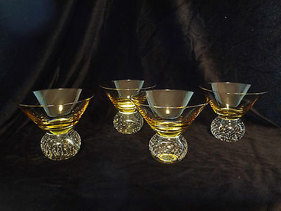 4 Controlled bubble martini glass Mid Century Modern Barware Free Shipping