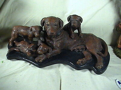 Vintage Irish Setter Dog Mother And Pupps Sculpture Signed Large 1902
