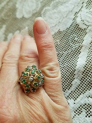 10k Yellow Gold Emerald Diamond Cocktail Cluster Ring, Size 7
