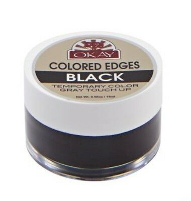 OKAY COLORED EDGES GEL BLACK 0.5oz Temporary color Gray touch up 'BLACK'