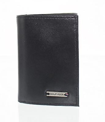 Tommy Hilfiger Men's Black Leather Trifold Wallet NEW With Free Postage