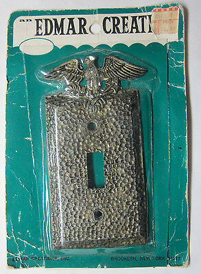 Vintage new brass color patriotic Edmar hammered switch plate cover eagle arrows
