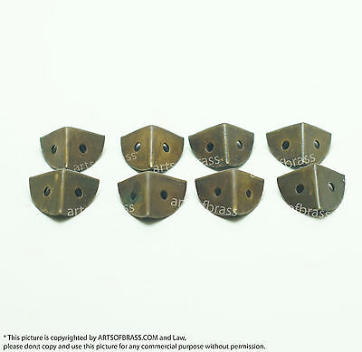 0.62 inch Lot of 8 pcs Solid Brass Small Retro Table Box Trunk Corner Protector