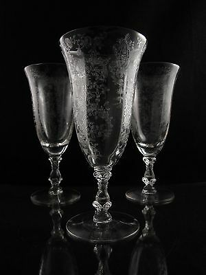 Cambridge Rose Point Iced Tea Glasses, Set of (3), Collector's Condition