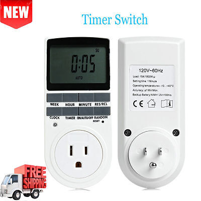2Pcs Programmable Digital Timer LCD Plug-in 7 Days 12 HOUR Relay Switch Socket
