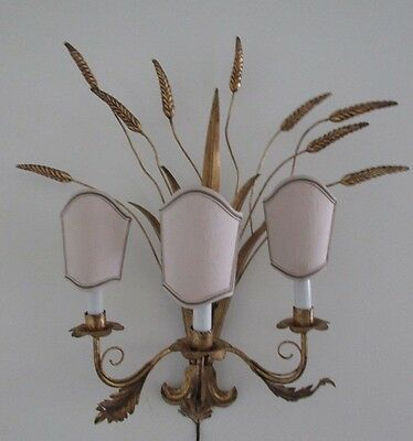 MidCentury Hollywood Regency WHEAT SCONCE 3Arm Gold Gilt Tole Metal Clamp Shade