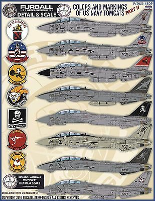 1/48 Furball F-14 Tomcats Colors & Markings Part II decals for the Hasegawa kit