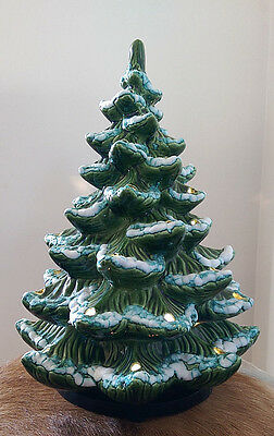 "Vintage MCM*Ceramic table top Christmas tree* 13.5"" A Hardin*flocked snow*as is"