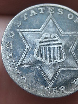 1858 Three 3 Cent Silver Coin -Very Fine/VF Details