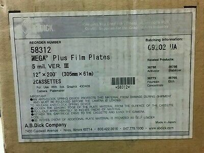 "NEW 12""x200' Mega Film Plus Plates 58312 Set of 2"