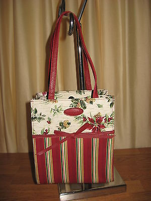 LONGABERGER Holiday Gift Bag/Tote NWOT w/Frosted Icycle &4 Jingle Bell Ornaments