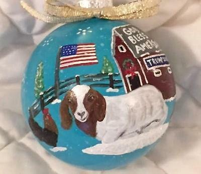 BOER GOAT CHRISTMAS ORNAMENT Hand Painted Glass Ball~USA Flag TRUMP Snow Rooster