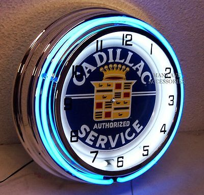"18"" CADILLAC Authorized Service Sign Double Neon Clock"