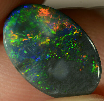 Black Opal Australian natural solid 1.25 ct very bright multi-colour gemstone