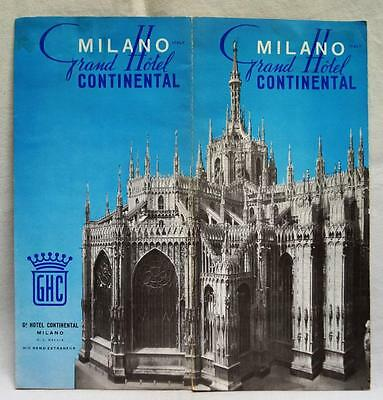 GRAND HOTEL CONTINENTAL MILAN ITALY ADVERTISING BROCHURE GUIDE 1950s VINTAGE