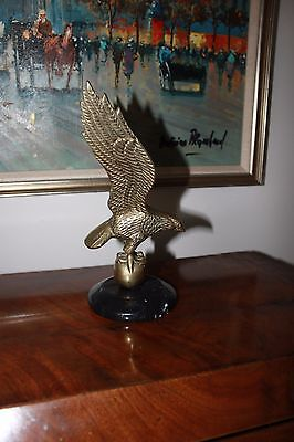 """Vintage Cast Brass American Patriotic Eagle on Marble Stand 10"""""""