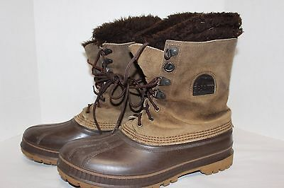 Men's SOREL Snow Winter Leather Rubber Duck Boots, Brown, Size 10
