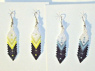 2- Pair of Choctaw Indian Beaded Feather Earrings