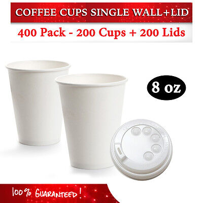 Disposable White 8 oz Single Wall Paper Coffee Cups 200 Pc + 200 Lids Bulk Buy