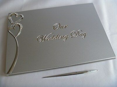 Guest Book - 'Our Wedding Day' - silver diamante hearts with pen