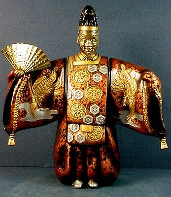 """Vintage Japanese Cast Metal Noh Theatre Character """"Okina"""" Statue"""