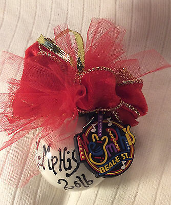 Memphis Christmas Ornament 2016 Porcelain Ball with Red Bow Mesh and Adornment