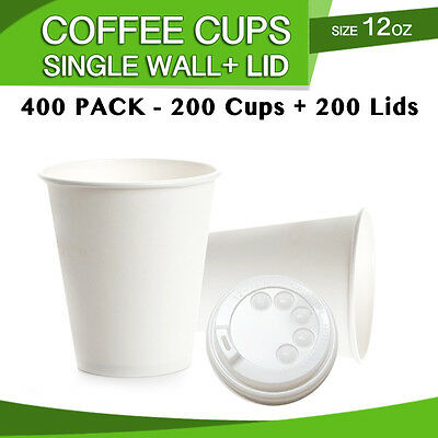 Disposable Single Wall Cups White 12 oz  Paper Coffee Cups 200 Pc + 200 Pc Lids
