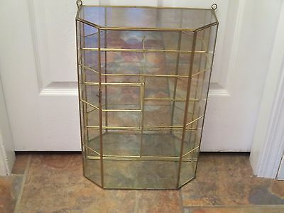 Brass Glass Table Top Wall Floor Curio Cabinet Display Case Mirror 20x13x5 Tall