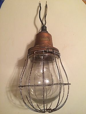 Antique Industrial Steam punk Goodrich Copper Light Fixture Edison Explosion