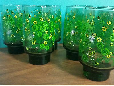 60s 70s VINTAGE 8 FLOWERED GREEN YELLOW GLASSES RETRO MID CENTURY