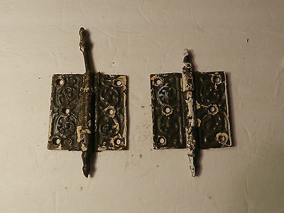 Roebling House Victorian Steeple Tip Cast Iron Hinges 1905  (3 1/2 x 3 1/2)