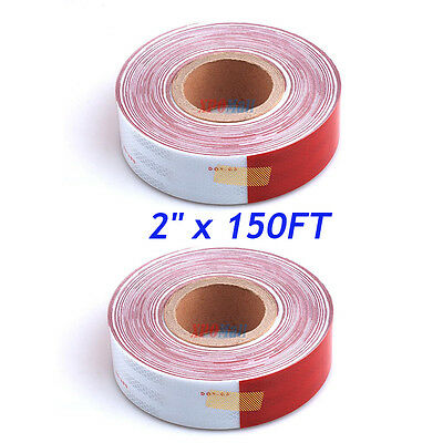"2""x150' DOT-C2 Reflective Safety Red White Conspicuity Tape Truck Trailer"