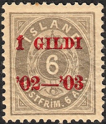 Iceland 1902 6a Grey Overprinted MH