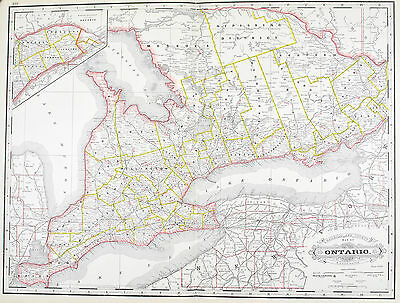 Ontario Canada Railroad and County Antique Map 1887