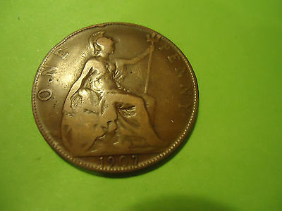 1907 English One Penny               Combined Shipping