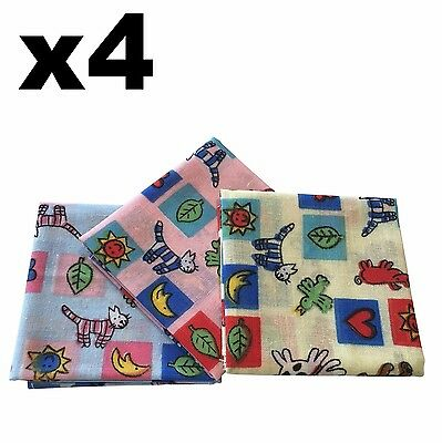 Childrens Handkerchiefs - 4 Pets & Gardens Hankies Blue Pink Yellow Cotton Hanky
