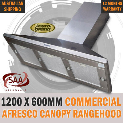 NEW 1200 X 600mm Commercial Alfresco Rangehood Canopy Range Hood Twin Motor BBQ